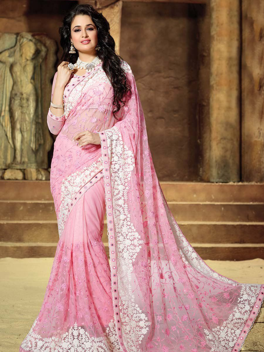 51a8fedc9 Irresistible light pink color net saree with resham