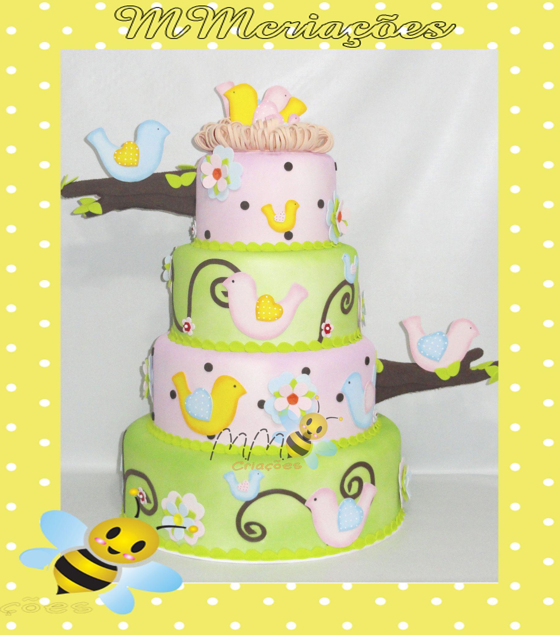 bolo cenográfico em e.v.a - passarinhos www.mmcriacoes.blogspot.com