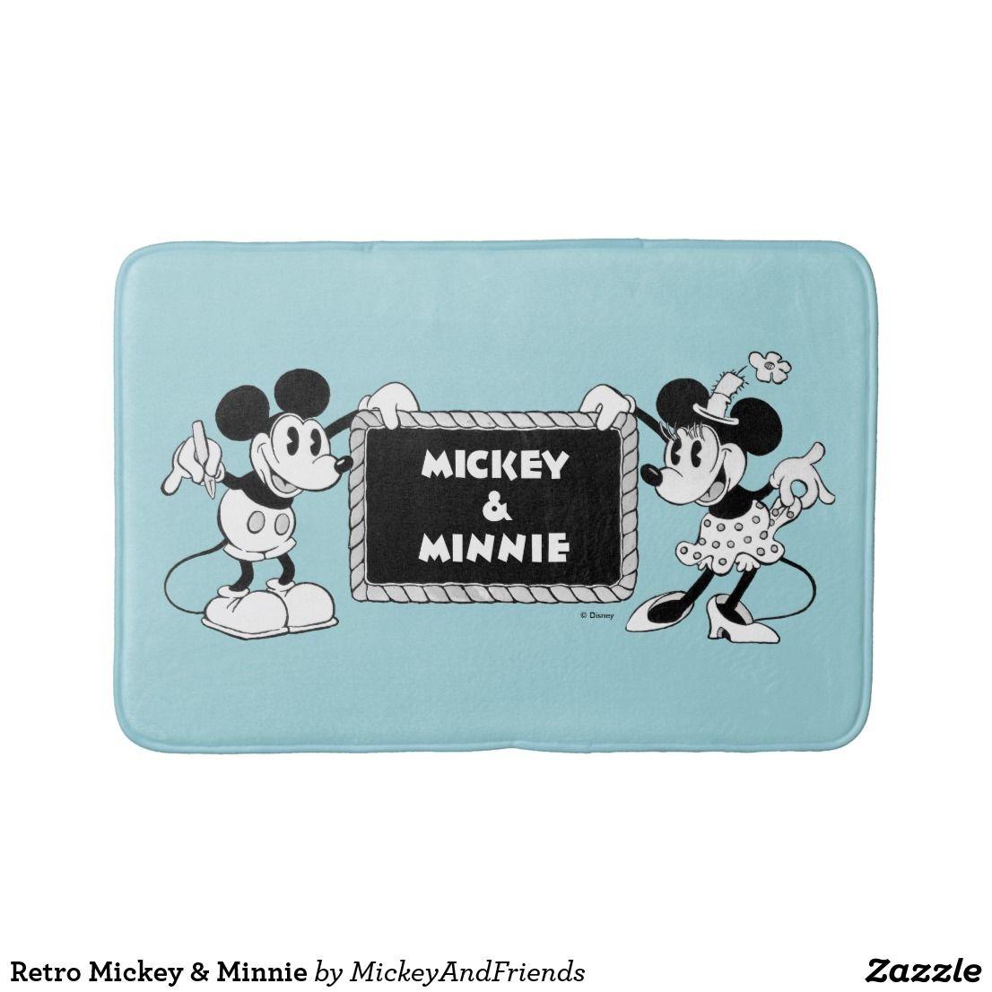 Retro Mickey Minnie Bath Mat Mickey Mickey Minnie Mouse Minnie