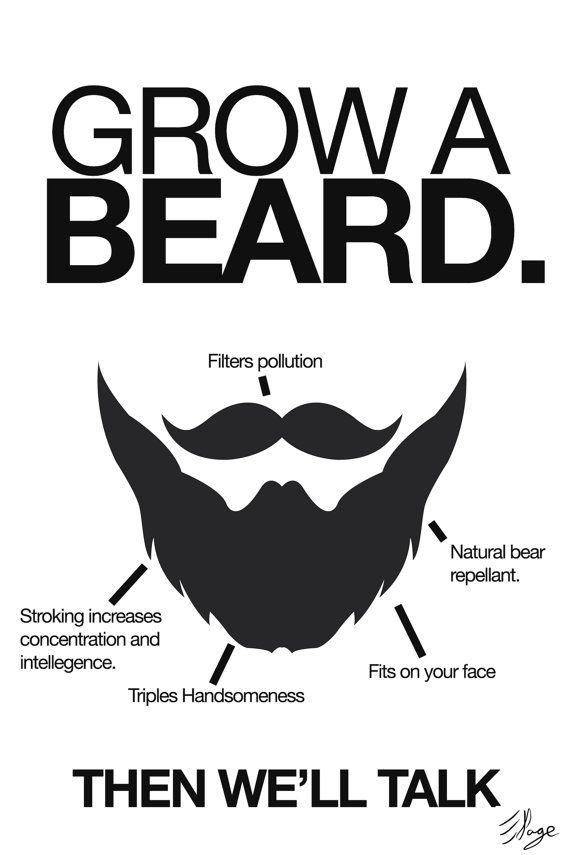 632799fb Grow a Beard. Then we'll talk - Poster   beards   Beard no mustache ...