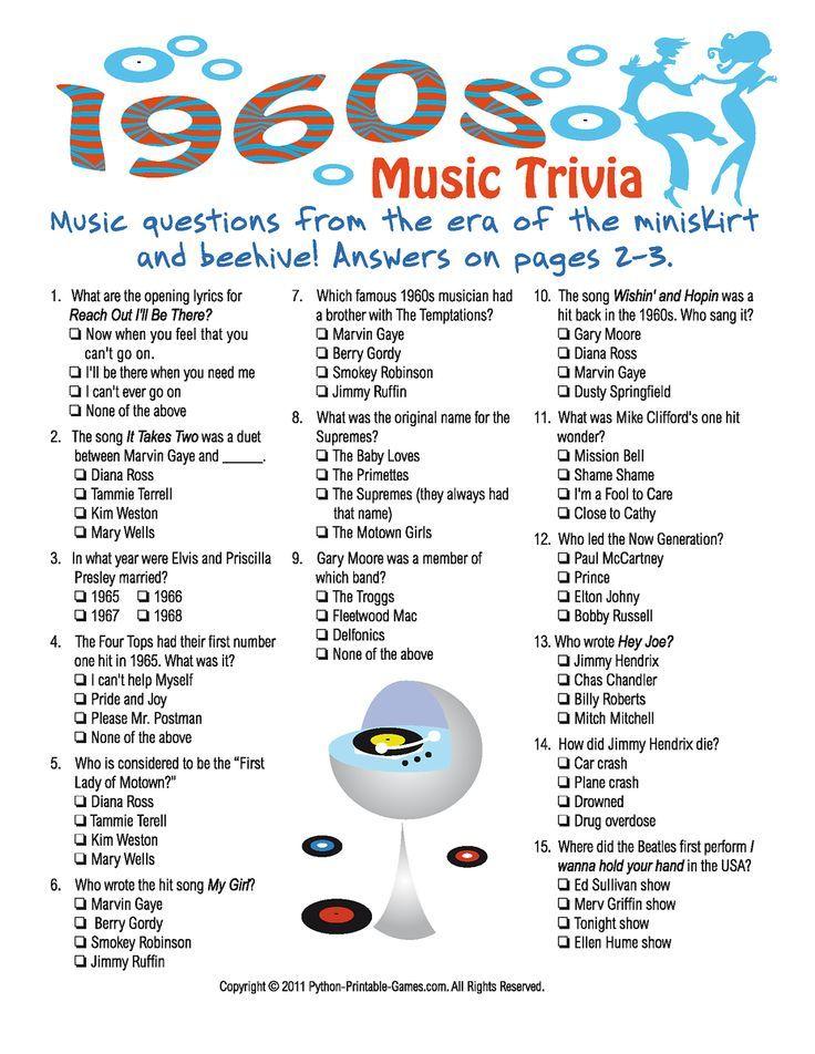 Printable 1960s Trivia Game 65th Birthday Trivia Games Trivia