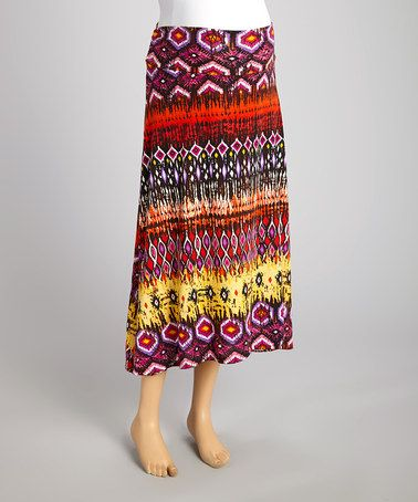 Look at this #zulilyfind! Red & Yellow Tribal Maternity Maxi Skirt by Mom & Co. #zulilyfinds