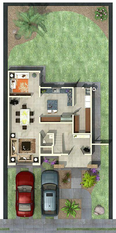 Planta baja arquitectura en 2019 for Plano casa minimalista 3 dormitorios