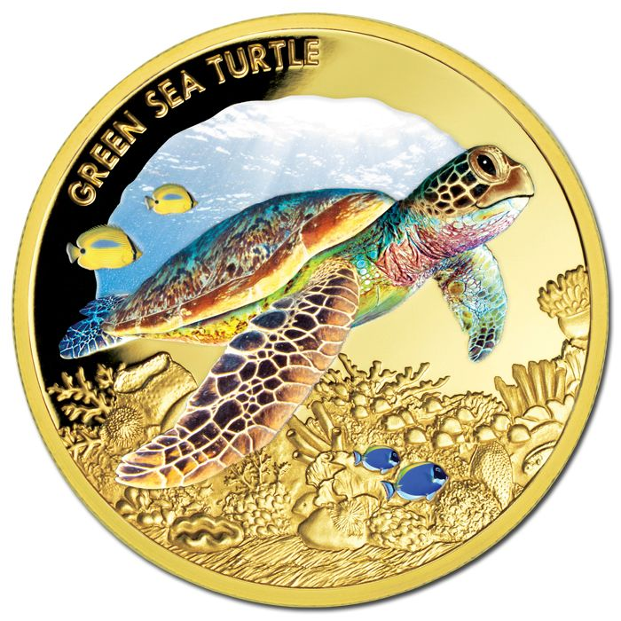 Niue 2014 100 Green Sea Turtle 1oz Gold Proof A Coin To