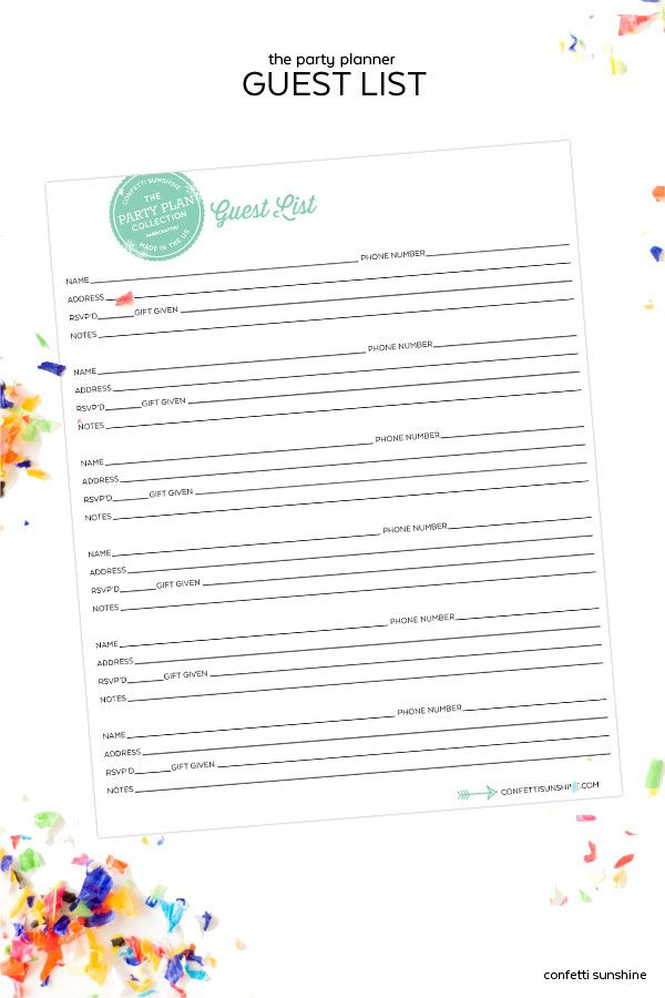 The Party Planning Collection Free Printable Guest List from - free printable guest list