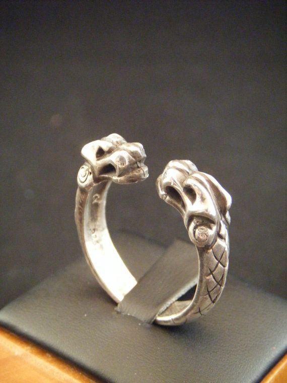 Viking lobo nórdico Torc anillo fundido en plata de ley