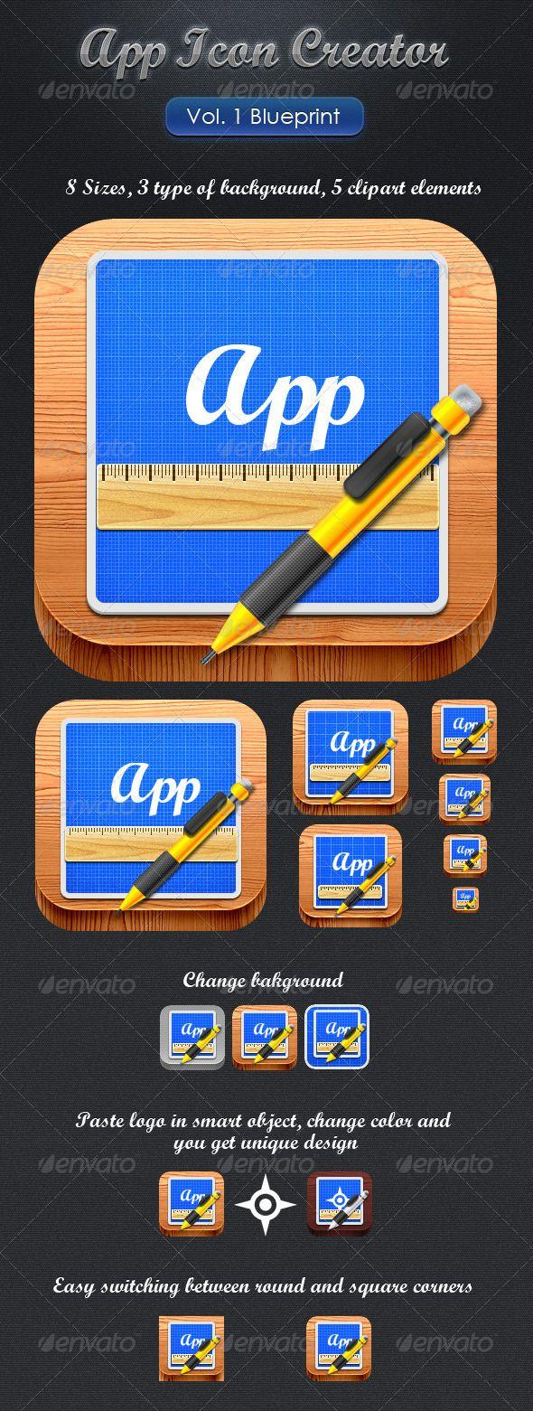 App icon creator vol1 blueprint premium software pinterest app icon creator vol1 blueprint malvernweather Image collections
