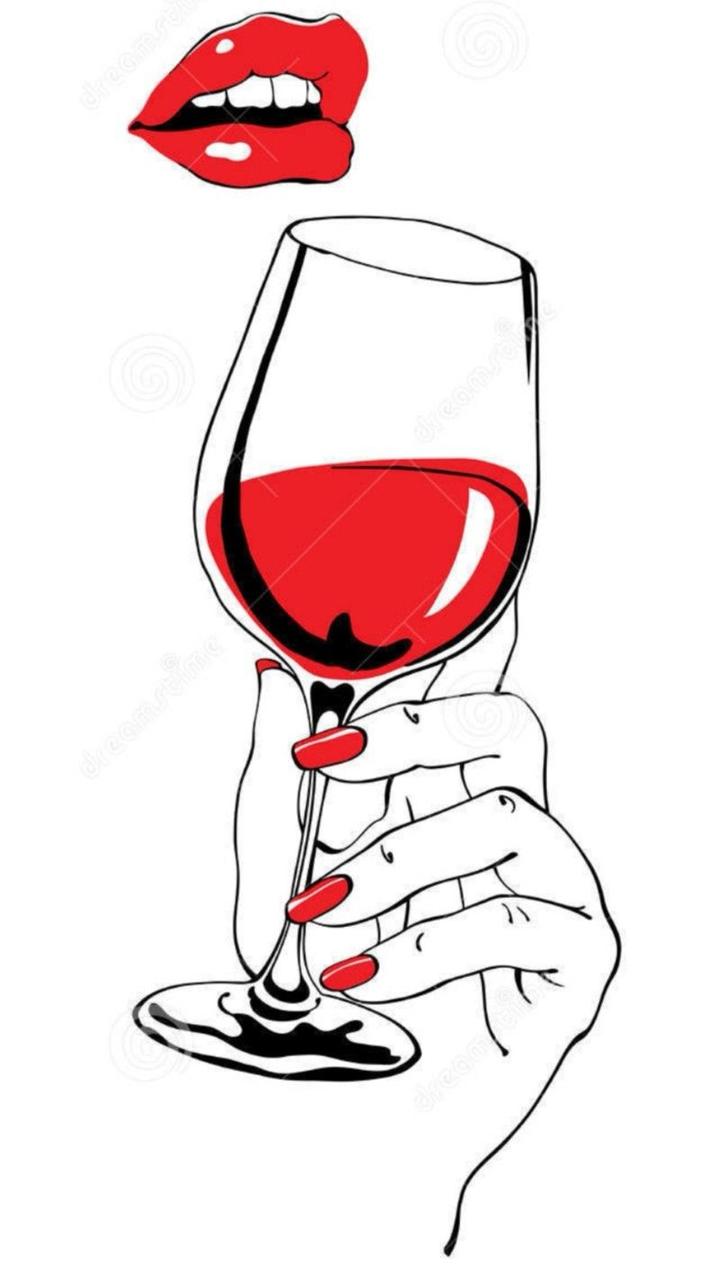 Pin By Key Pii On Krasnoe In 2020 Wine Glass Drawing Wine Painting Red Lips