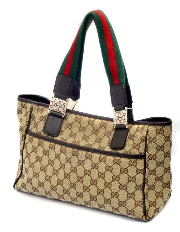 Gucci Guccissima Canvas Brown Leather Shelly Tote Bag  d5c7b6c390286