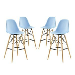 Modway Pyramid Dining Side Bar Stool Set of 4 in Light Blue