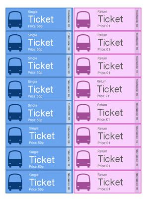 editable bus role play tickets a set of bus tickets singles and