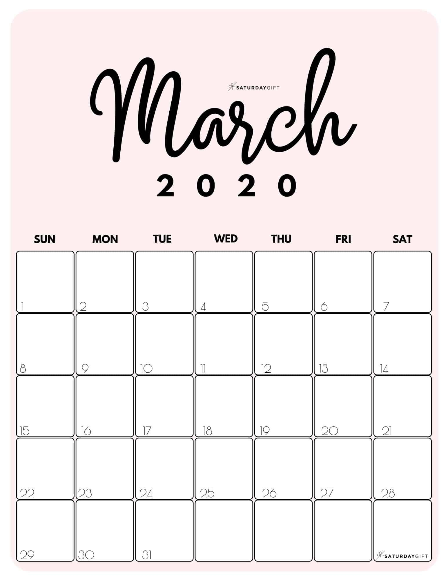 Cute Free Printable March 2021 Calendar Saturdaygift In 2020 October Calendar Calendar Printables Calendar Design