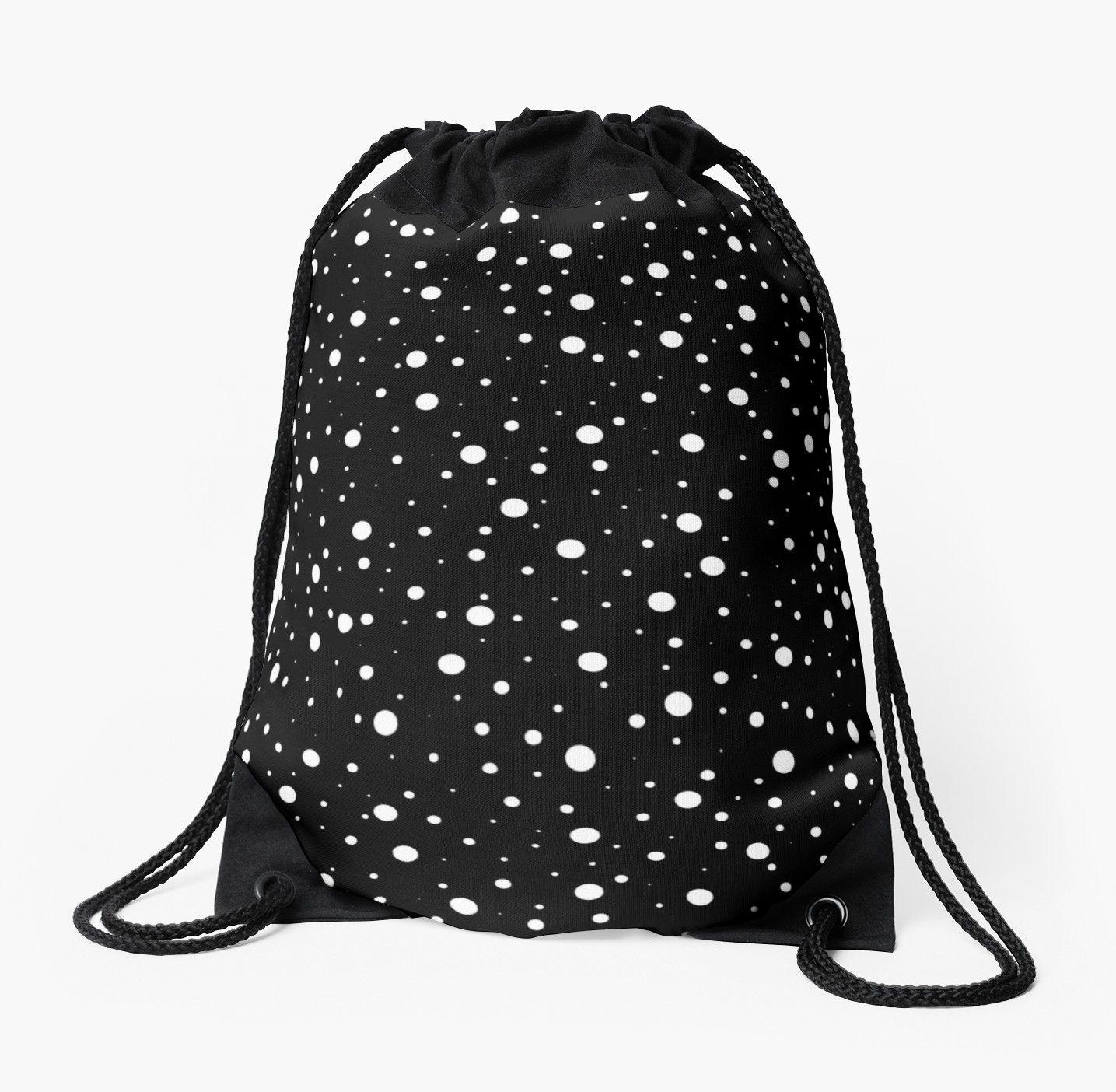 'Black and White Polka Dots (Black Background)' Drawstring