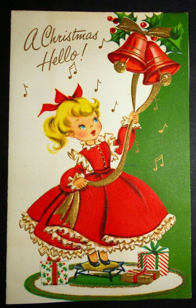 Vintage Christmas Card - DARLING GIRL IN RED DRESS RINGS BELLS GOLD ...