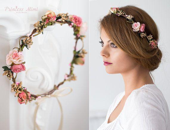 Braut haarband frisur  Braut Blumenkranz Hochzeit Haarband Blumen von MimiPrincess auf ...