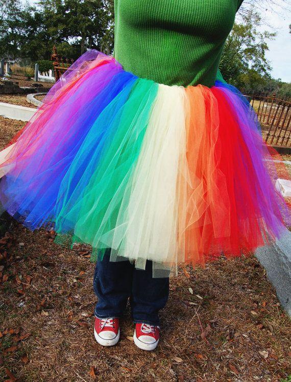 985de67ea Plus Size Rainbow Tulle Tutu Skirt Knee Length by pooftutus, $90.00 ...