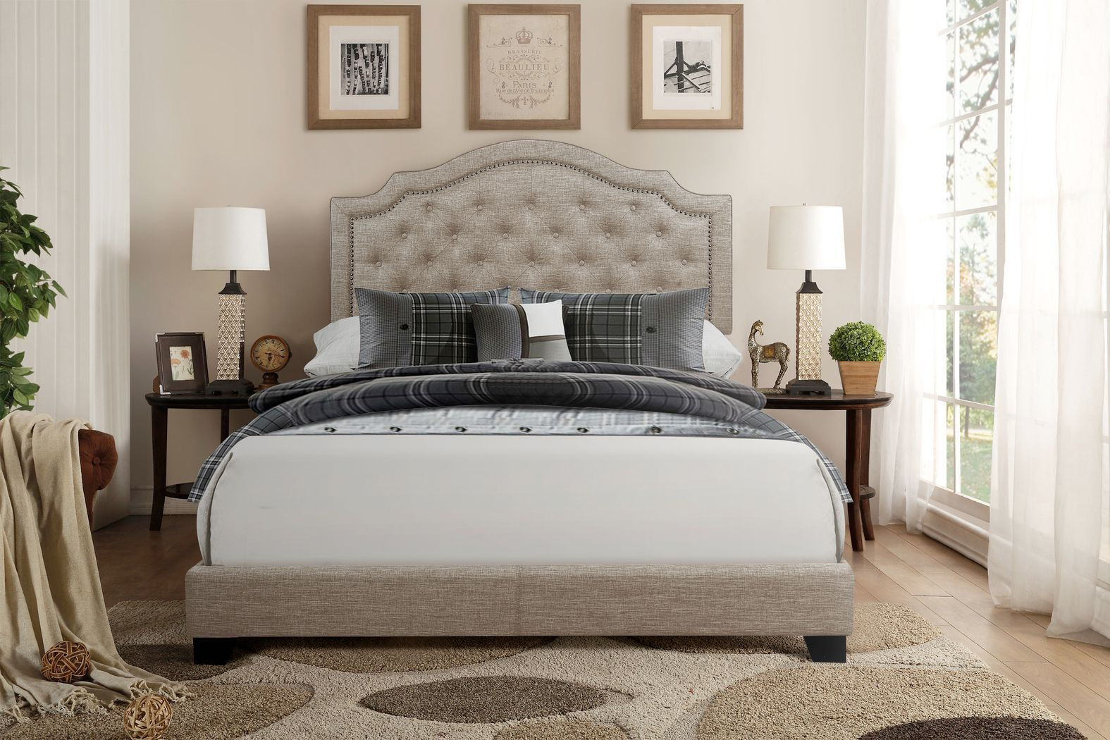 Best Bowerton Beige Queen Upholstered Bed In 2020 Upholstered 640 x 480