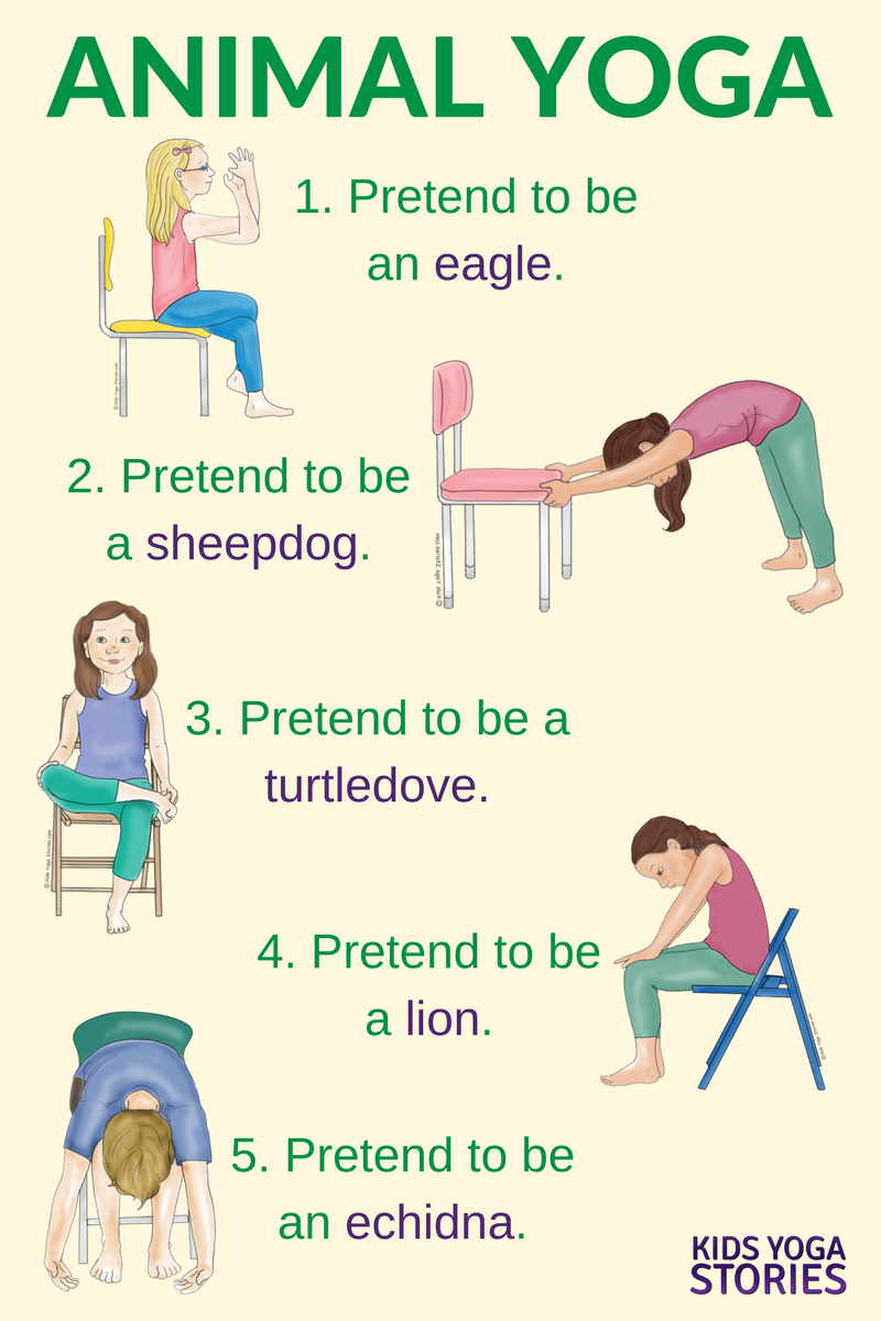 5 Yoga Animal Poses Using a Chair Kids yoga poses, Yoga