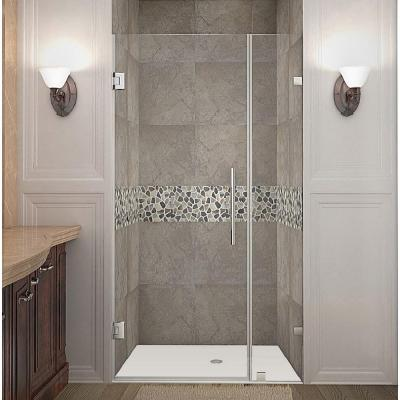 Aston Cascadia 23 In X 72 In Completely Frameless Hinged Shower Door In Chrome With Clear Glass Sdr995 Ch 23 10 The Home Depot Frameless Hinged Shower Door Shower Doors Frameless Shower Doors