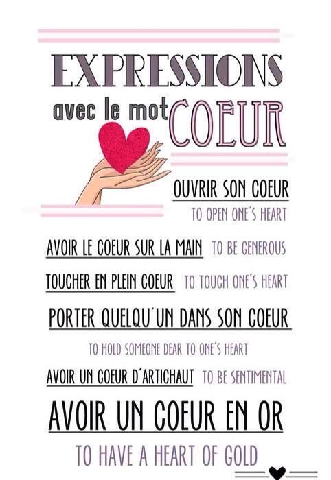 Fle Learning French Expressions Avec Le Mot Coeur Expressions With The Word Heart