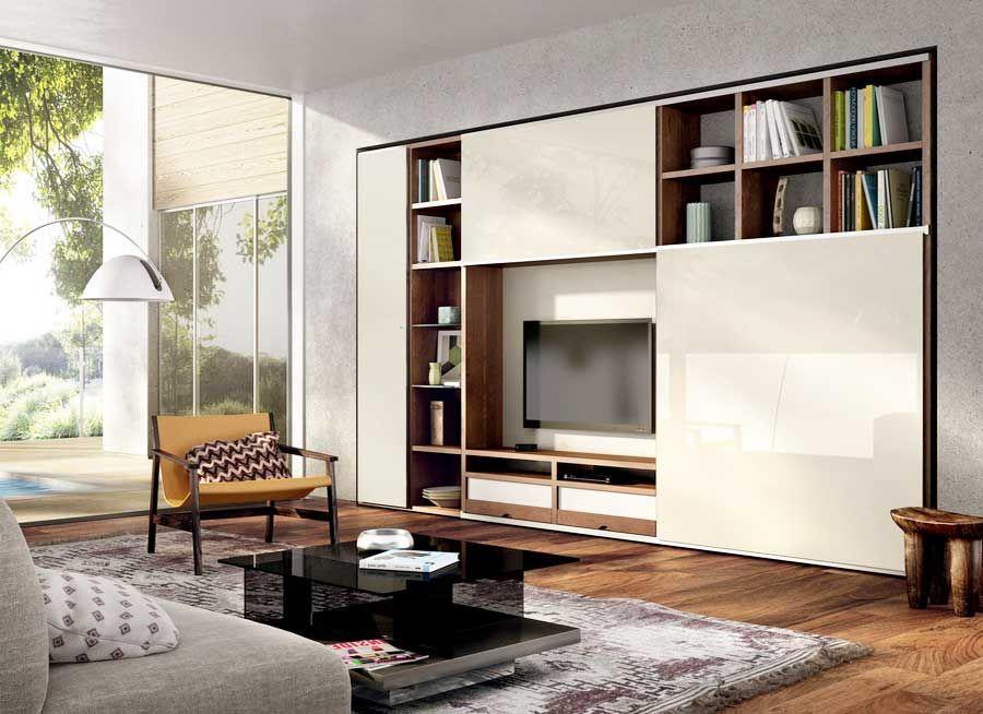 Bucherregal Mit Schiebetur Hochglanz Fur Holz Wohnzimmerschrank Design Ideen