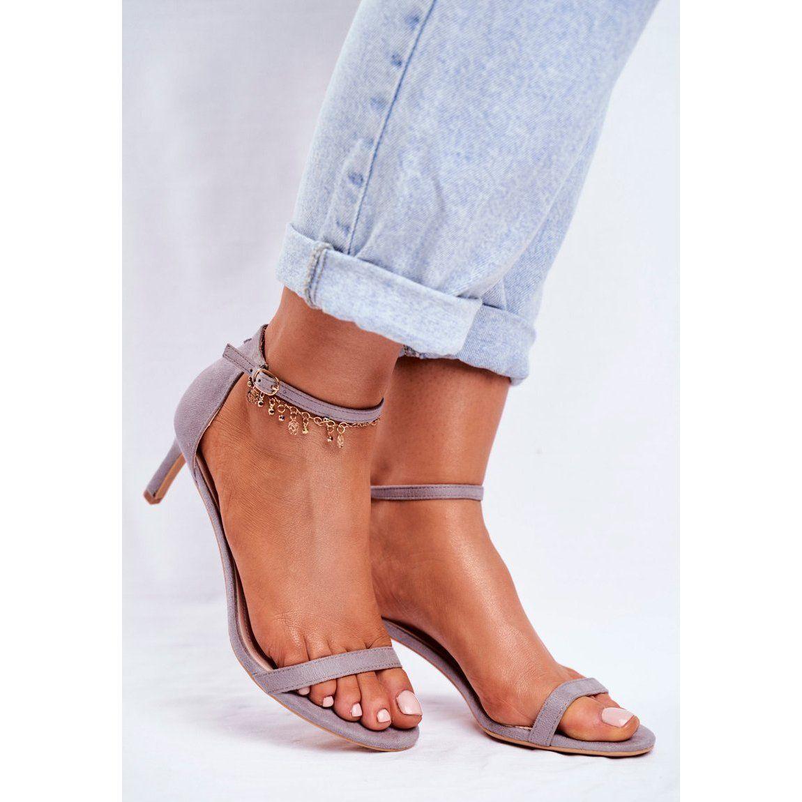 Ps1 Sandaly Damskie Na Szpilce Klasyczne Szare Mintore Shoes Sandals Sandals Heels