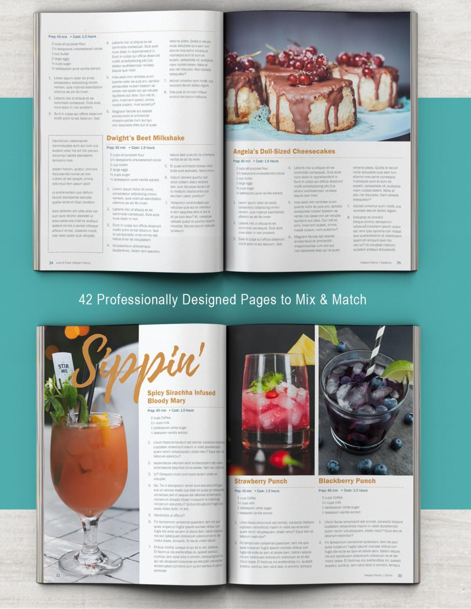 Cookbook And Recipe Template For Adobe Indesign Instant Etsy In 2020 Recipe Template Cookbook Template Cookbook Design