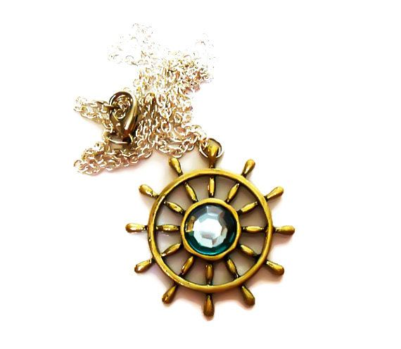 Captainswan necklace, Captain Swan, Once upon a time, emma swan, ship wheel, charm necklace, captain swan, ouat jewelry, Aquamarine Necklace - pinned by pin4etsy.com