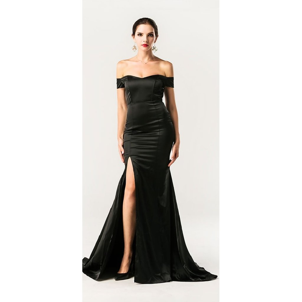 Black off shoulder gown dresses pinterest gowns and products