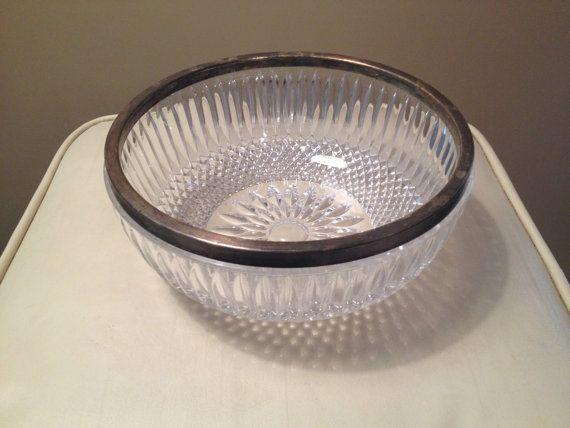 Mid Century Modern Crystal Cut Large Bowl by BlackwellArts on Etsy, $23.00
