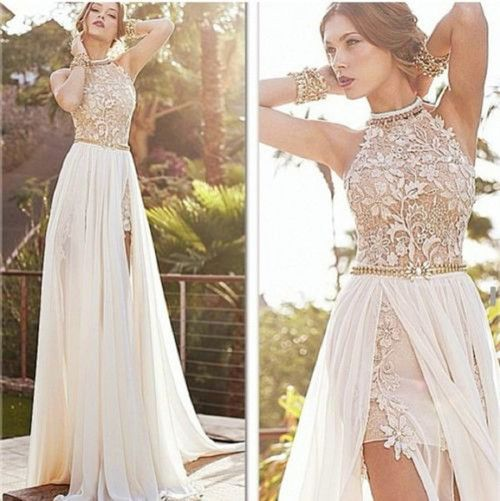 Sexy Lace Long Chiffon Evening Formal Party Cocktail Dress ...
