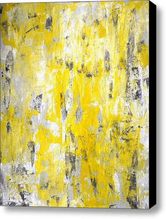 Bathroom Canvas Art: Grey And Yellow Abstract Art Painting