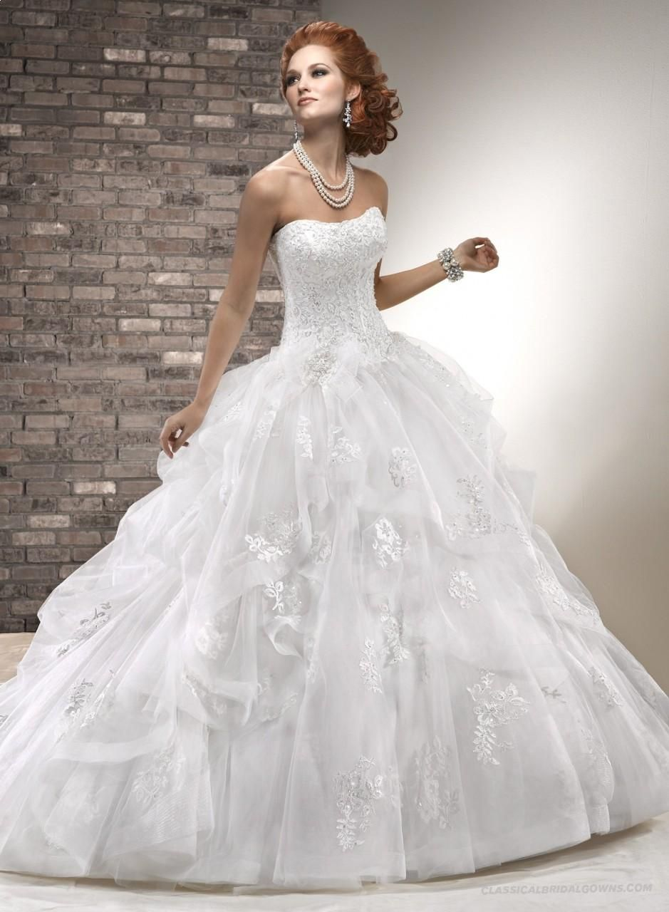 Fashion Ball Gown Scallop Chapel Train Tulle