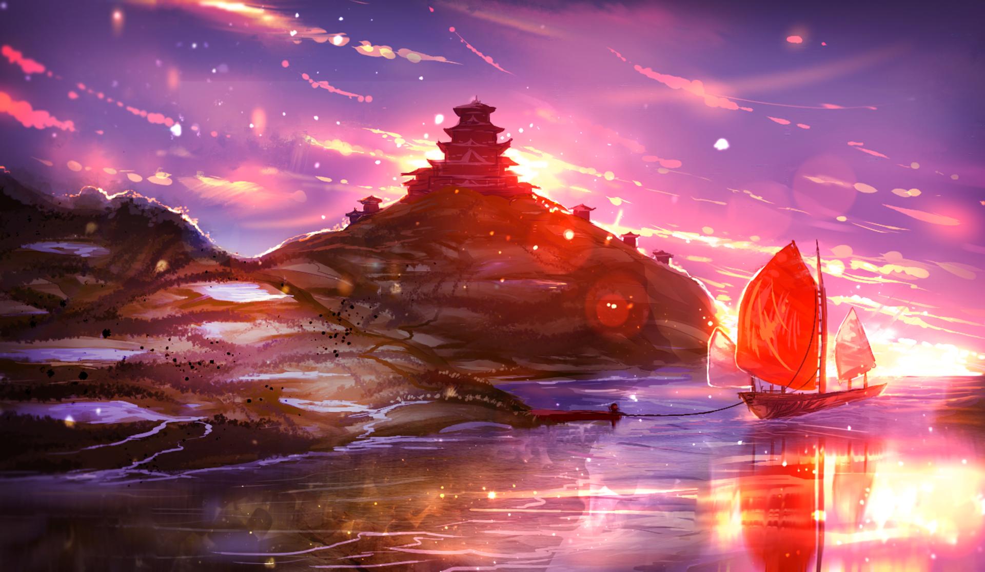 Anime Original Ship Sunset Sky Sea Shrine Wallpaper Desktop Wallpaper Art Wallpaper Pc Anime Art Inspiration Painting