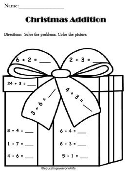 Christmas Addition Math Coloring Activtiy Christmas Math Christmas Addition Christmas Kindergarten