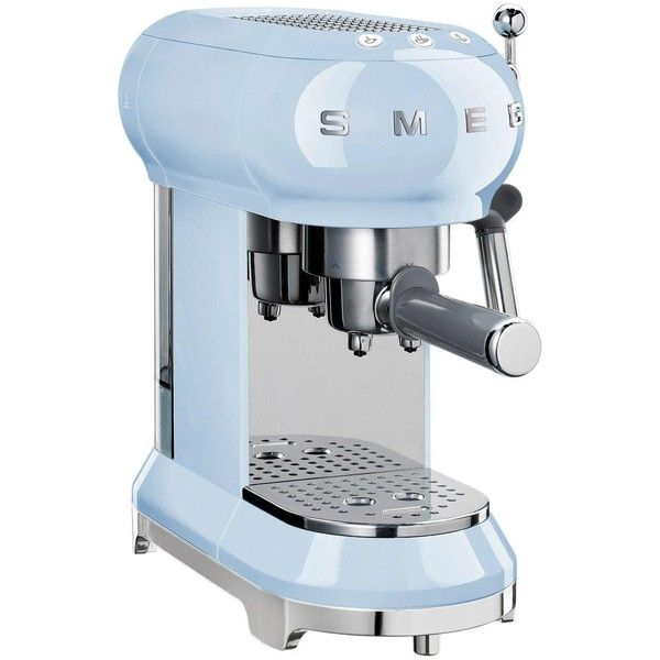 Smeg Smeg Espresso Coffee Machine, Pastel Blue (€325) ❤ liked on Polyvore featuring home, kitchen & dining, small appliances, coffee cappuccino maker, smeg, espresso coffee maker, colored coffee makers and latte coffee maker