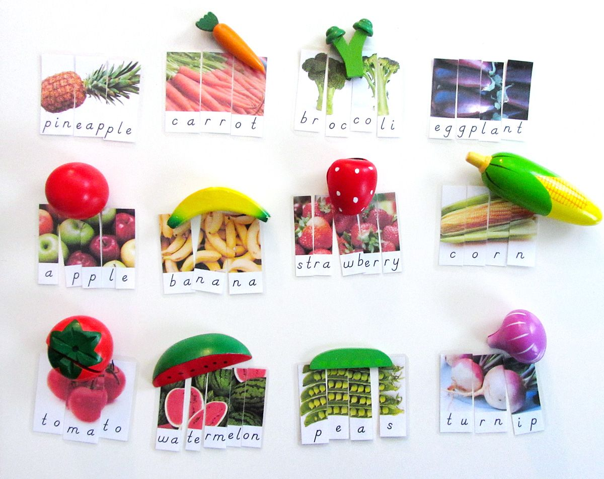 Fruit And Vegetable Word Puzzles Preschool