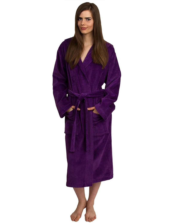 eb9a3a15542f Women s Robe- Hooded Terry Velour Cotton Bathrobe Made in Turkey - Purple -  CA11YR27LL5