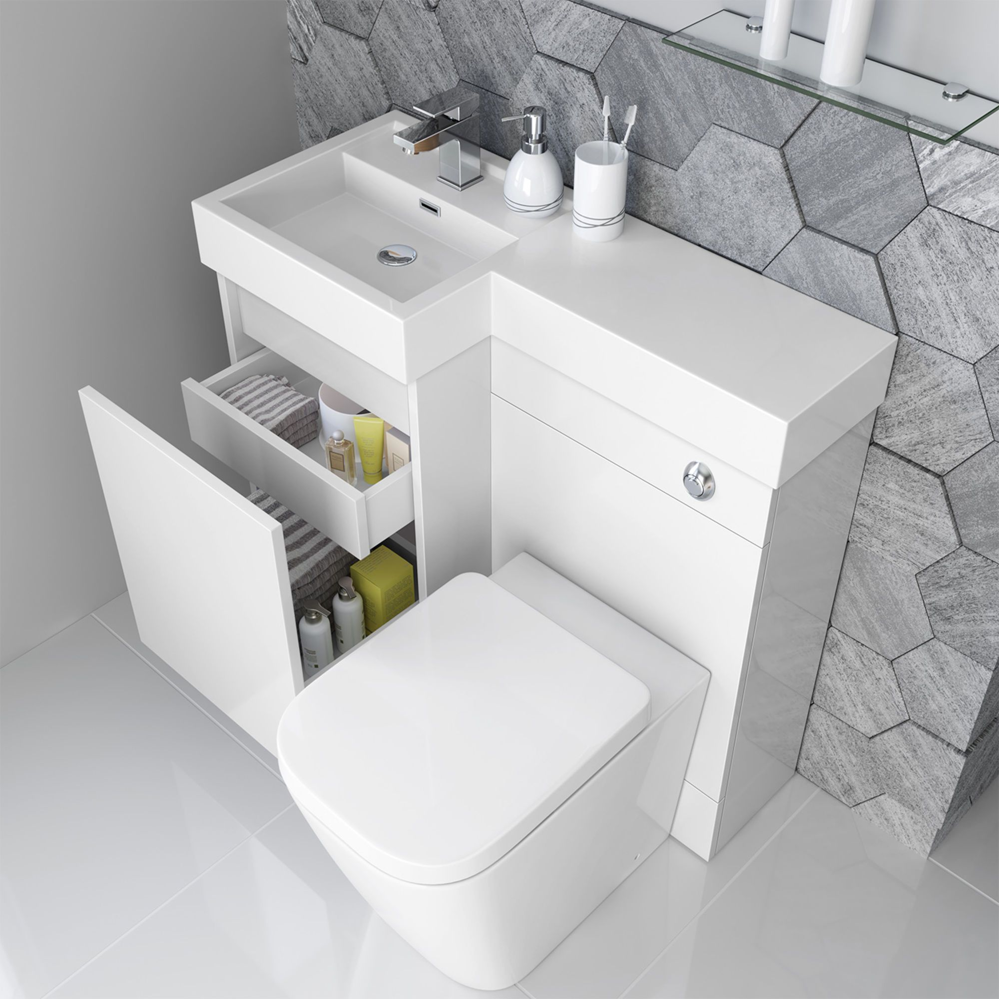 906mm Olympia Gloss White Drawer Vanity Unit – Florence Pan