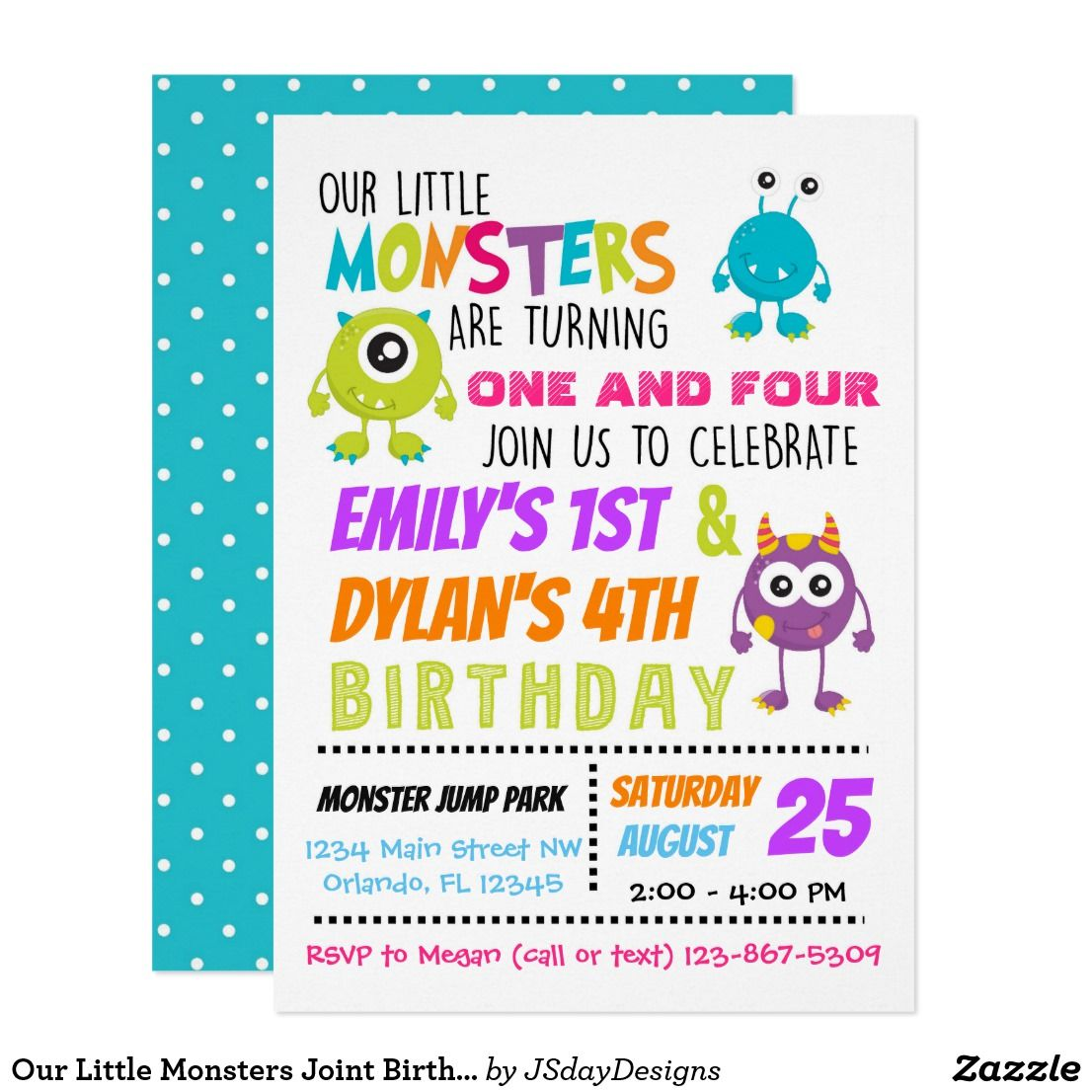 Our Little Monsters Joint Birthday Party Invite Zazzle Com Joint Birthday Parties Combined Birthday Parties Sibling Birthday Parties