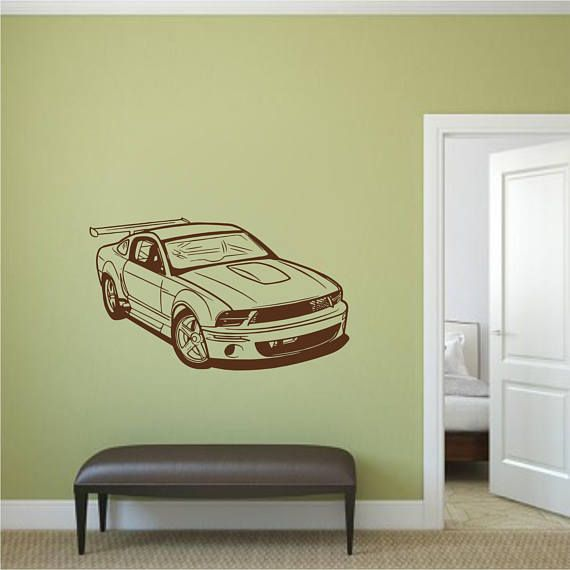 Ford Mustang Sports Car Wall Decal, Man cave wall decor, Wall decal ...