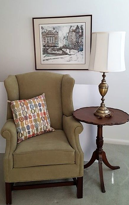 Hallagan Uphold Wind Chair With Dark Wood Legs, Vintage Mahogany End Table,  Table Lamp