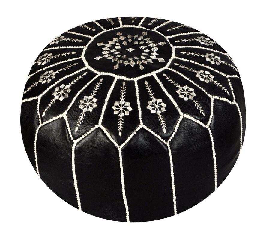 Moroccan Black Flower Ottoman