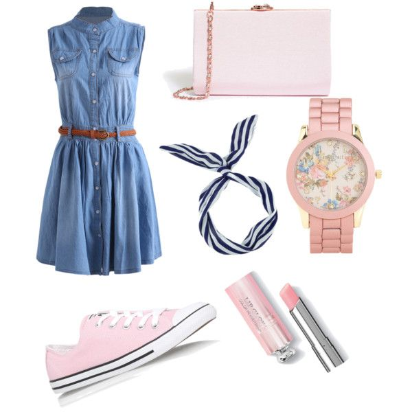 New, fresh and girly look by darinapitkevica on Polyvore featuring polyvore moda style Converse Ted Baker Aéropostale