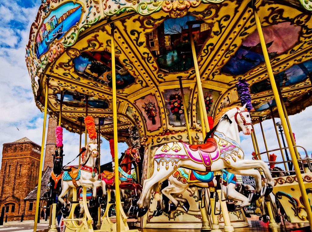 Carousel in Albert Dock, Liverpool jigsaw puzzle in Puzzle of the Day puzzles on TheJigsawPuzzles.com
