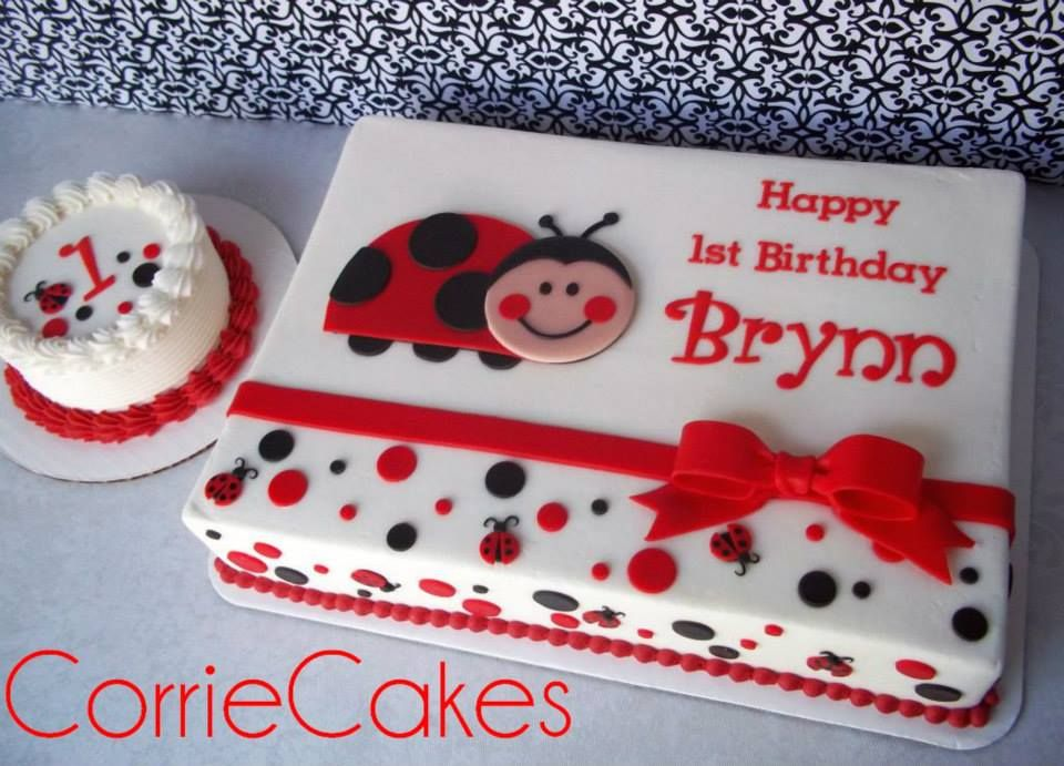 lady bug smash cake and sheet cake Love on Top Pinterest