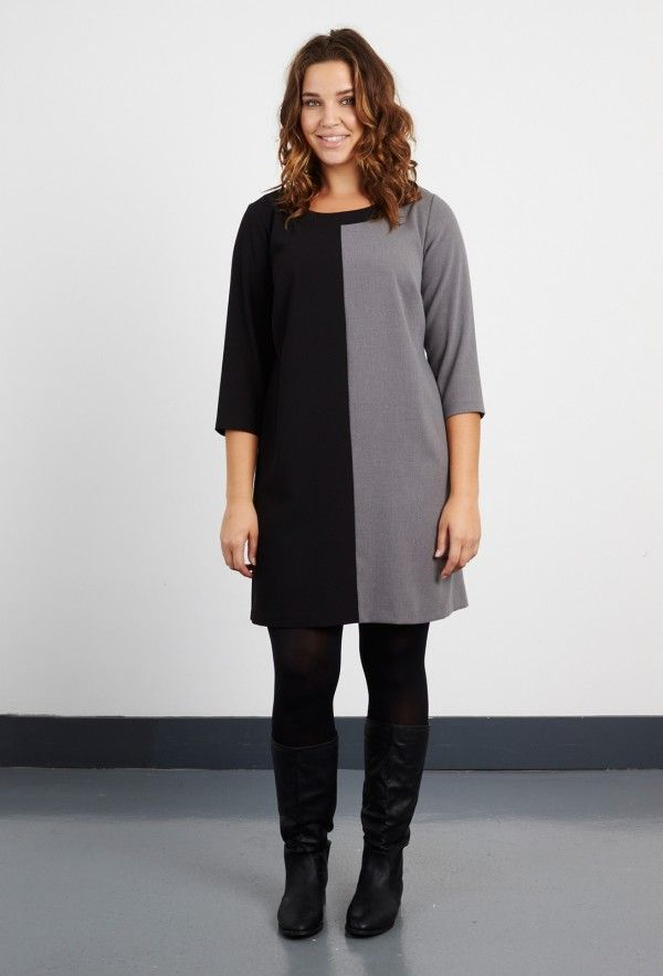 Anna Scholz Plus Size Tailoring Crepe Contrast Tunic now also in black and grey