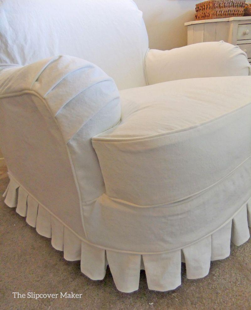 White Denim Chair Slipcover Slipcovers And Upholstery