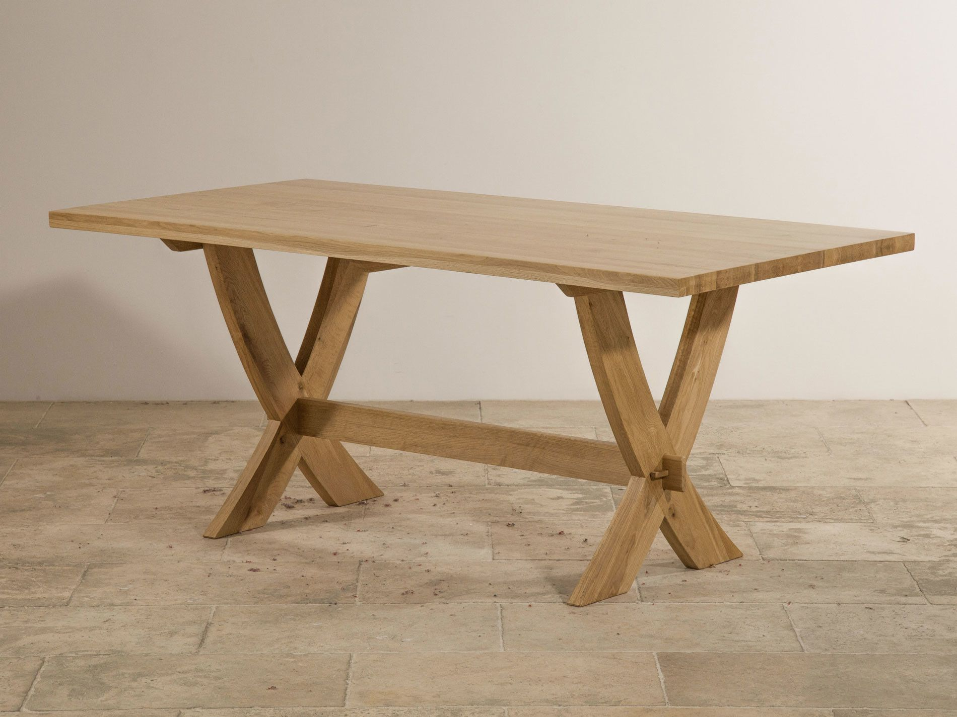 Crossley Natural Solid Oak Crossed Leg Dining Table Dining Table