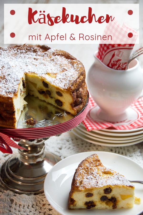 Käsekuchen mit Apfel, Rosinen und etwas Calvados Kuchen